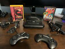 Sega Genesis Console Two Controllers Sonic And Mortal Kombat