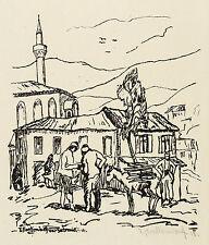 FRANZ HECKENDORF - Vor Saloniki - Lithografie 1916
