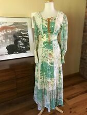 Vtg 70s Corset Lace Up Boho Festival Prairie Floral Lace Maxi Dress Bishop Sleev
