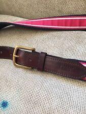 Vineyard Vines Leather Canvas ribbon Belt Striped Pinkish Red 44