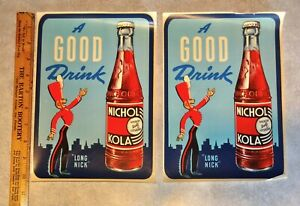 (2) Vintage 'Long Neck' NICHOL KOLA Soda Pop Advertising Decals. Signs.
