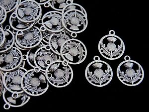 Tibetan Silver Scottish Thistle Charm 20mm Charms Jewellery Craft Flower UK ML