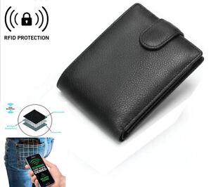 Men's Wallet with Button Coin Pocket & ID Window   RFID Blocking Card Holder