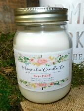 Scented ROSE PETAL 16oz Mason Jar Hand Poured Magnolia Candle Co. 100% Soy