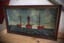 Ancien Diorama Ex Voto De Marine / Bateau Phare Le Havre