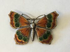 So Pretty!!! CATHERINE POPESCO Vintage Orange And Green Enamel Butterfly Brooch