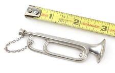 Clasp Shirt Pin Back Miniature instrument Vintage Trumpet Silver Tone Tie Bar