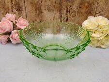 "Art Deco Green Glass 9.5"" or 24cm Fruit or Salad or Trifle Dessert Bowl"