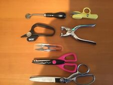 PINKING SHEARS + 6 OTHER SEWING TOOLS - USED