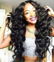 Women's African Wig Black Long Wavy Synthetic Full Wig Natural Looking Hair Wigs