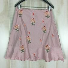 Anthropologie Odille 100% Silk Skirt Pink w/ Embroidered Flowers Lined Size 6