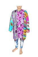 Indian Patchwork Men's Shirt Casual Tunic Ethnic Wedding Wear Cotton Kurta Pink