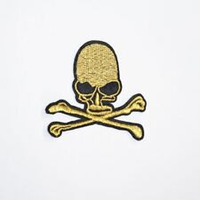 Golden Skull (Iron On) Embroidery Applique Patch Sew Iron Badge