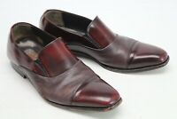 Mezlan Mens Cap Toe Loafers 9 M Burgundy Deerskin Patent Leather Slip On Shoes