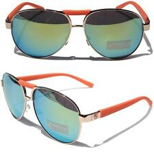Khan Aviator Orange Gold Metal Sunglasses Driving Green Mirror Lens Classic 1364