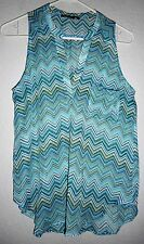 American Dream Chevron Stripe Top Summer Size Small Blue Multi Color  Pretty!!
