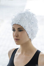 Womens Swimming Hat White Fabric Petal Fashy Flowery Swim Hat Pretty