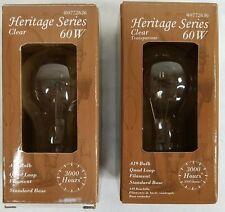 Lot of 2 Heritage Series 60W Clear A19 bulb Quad Loop Filament Standard Base