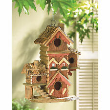 BIRDHOUSE: Gingerbread Style Wood Condo Multilevel Bird House NEW
