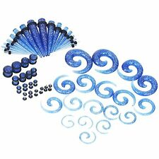 54pcs Tapers and Plugs Blue Glitter Spiral Ear Gauges Kit Stretching Kit 14G-00G
