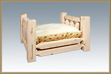 Rustic Raised Dog Bed Small Amish Made Solid Wood Farmhouse Style Pet Beds