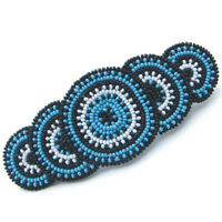 BLUE BLACK WHITE SEED NATIVE STYLE HAIR BARRETTE FRENCH CLIP Z29/4
