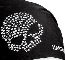 HARLEY DAVIDSON WOMENS BLACK CRYSTAL BLING SKULL HEADWRAP