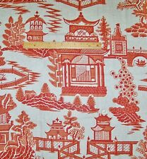 SCHUMACHER CHINOISERIE PAGODA TOILE LINEN FABRIC 10 YARDS SALMON CORAL