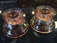 FEDERAL GLASS MADRID PINK DEPRESSION REVERSIBLE CANDLE HOLDER