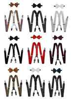 New! 4-Clips Suspender and Bow Tie Set for Adults Men Women Teens (USA Seller)