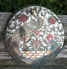 "Vintage Asian Porcelain 6.75"" Jewelry Trinket Dish w/Lid~Gorgeous Peacock Design"