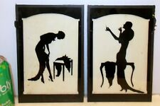 Superb ART DECO PAIR SILHOUETTE PICTURES Sexy Ladies GLAMOUR