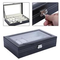 Multi-functional Watch Display Storage Box Sunglass Holder Organizer Case + Key