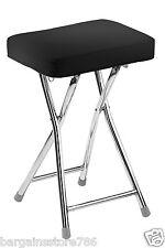 Folding Stool Black Rectangular Padded Seat Chrome Frame Seating Kitchen Bar New