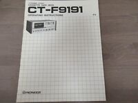 Pioneer CT-F9191 Cassette Tape Deck instruction owners manual Original