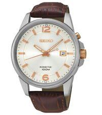 Seiko Kinetic Steel Brown Leather 100m Men's Watch SKA669J1 RRP £225