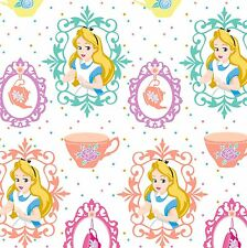 """Disney Alice & Teacups  White 100% cotton 43"""" Fabric by the yard"""