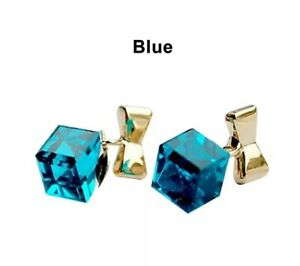 Gold Bow Knot Earrings Blue Square Cube Crystal Ladies Fashion Jewellery