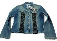 Berek Womens Denim Jacket Blue Black Lace Rhinestone Buttons Stretch M New