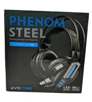 Evo Core Phenom Steel Black Gaming LED Headset w/Fixed Boom mic for PS4 *Read