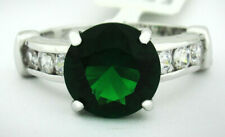 COLOMBIAN 4.16 Cts EMERALD & WHITE SAPPHIRE RING Silver Plated * Size 5.75* NWT