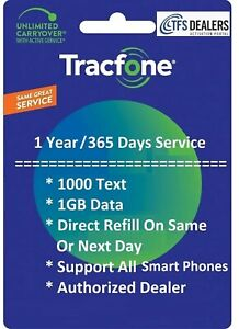 TracFone Service Extension 1 Year/365 Days + 1000 Text / 1GB Data, Smart Phones