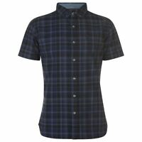 Mens Firetrap Short Sleeve Check Shirt Casual New