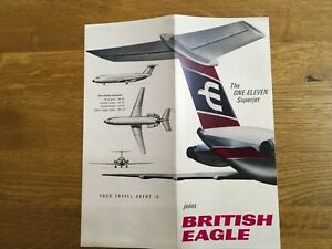BRITISH EAGLE BAC 1-11 VINTAGE AIRLINE BROCHURE WITH ONE ELEVEN SEAT MAP. 1966.