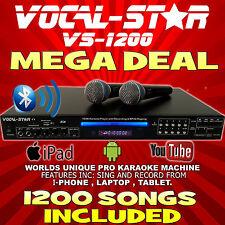 Vocal estrellas VS-1200 Reproductor De Máquina De Karaoke Cdg Hdmi Bluetooth 2 micrófonos y 1200 canciones