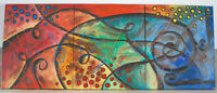 Large Contemporary 3-piece Oil On Canvas Painting Modern Abstract Art 60X24X1.5