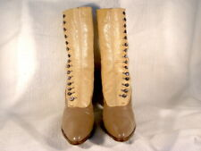 Vintage Edwardian Era 2-Tone Olive/Beige Leather 15-Button Up Boots Us8Aa