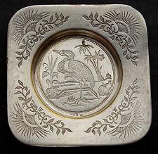 Superbe petite assiette en métal argenté avec le Héron. Germany, WMFM 1887-1903