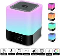 Enceinte Haut-parleur Bluetooth Veilleuse Lampe de Chevet LED Tactile Réveil