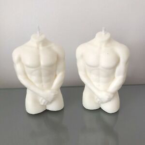 New Naked White Male Body Candle With Arms | Man Chest | Torso | Fit Torso